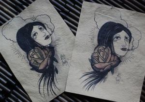 smoking girl - old school tattoo art printed on handmade paper