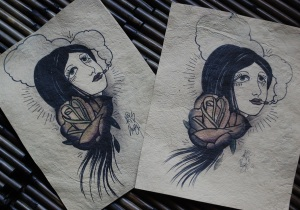 smoking girl - old school tattoo art printed on handmade paper