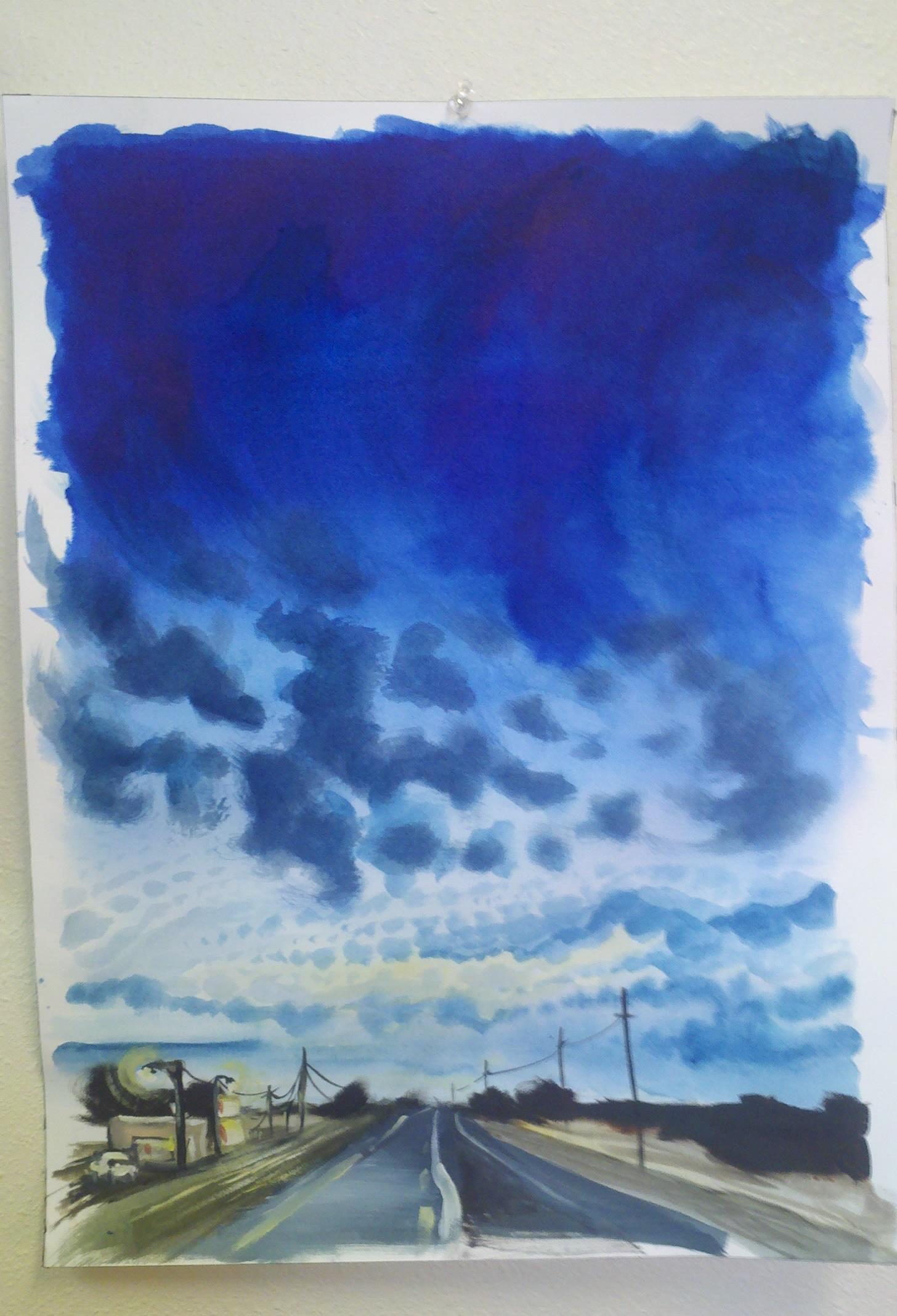 sunrise on iowa highway, landscape painting