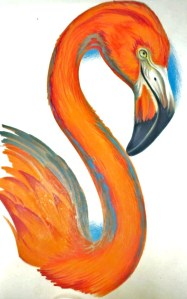 flamingo artwork, painting