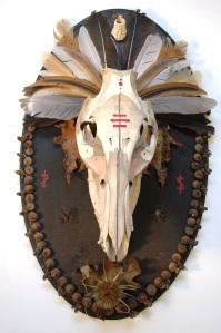 pig skull mount