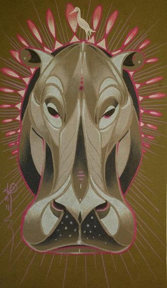totem animal hippo art