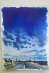 blue clouds landscape painting of highway