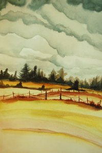 autumn fields original landscape painting