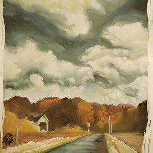 covered bridge landscape painting, original