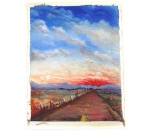 red highway, eastern oregon landscape, original