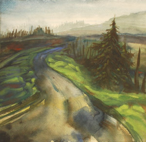oregon landscape painting, original watercolor art, office decor