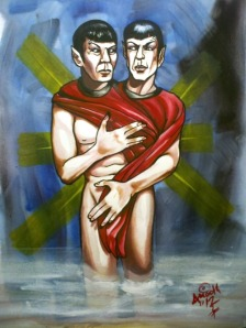 siamese twin spock redshirt star trek painting