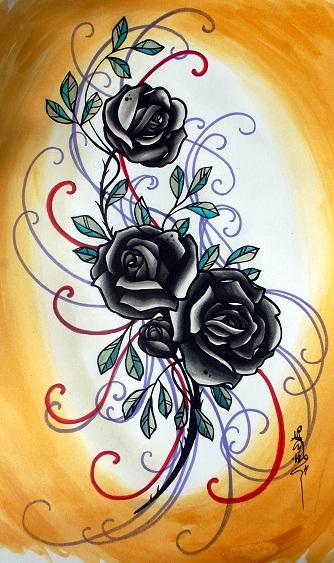 yellow and black rose tattoo