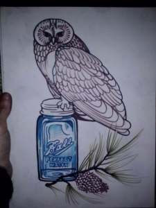 owl and mason jar