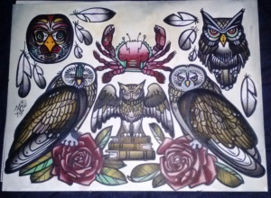 owls, books, and crab tattoo flash