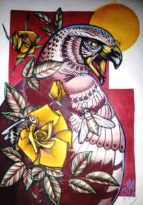 hawk, roses, bees, tattoo