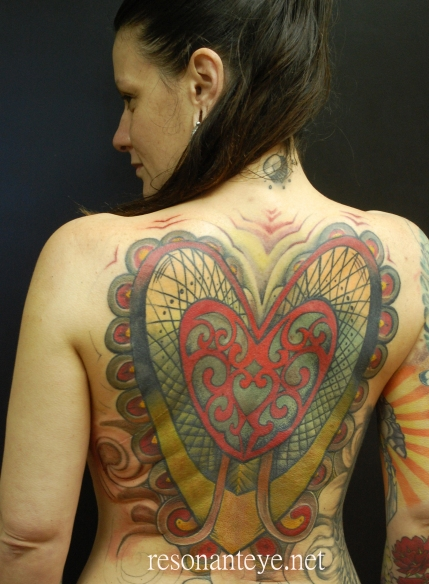 Hearts of earth, tattoo backpiece. Completed 2013.