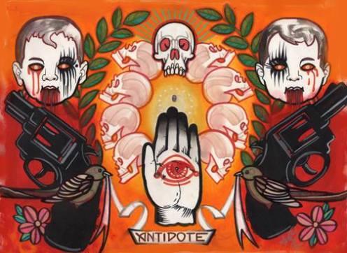 guns and hand and skulls tattoo flash