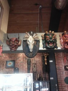 Pig skull tribal mount, hanging among its friends (she is also for sale)