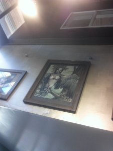 one of my harpy paintings on display