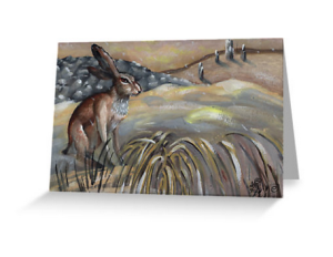 hare rabbit animal art wildlife blank greeting cards happy holiday neutral greeting cards inclusive holiday cards nondenominational holiday cards seasons greetings