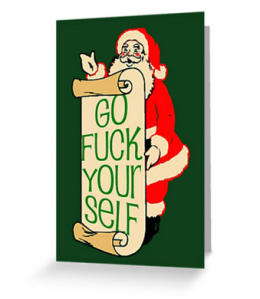 rude santa cursing fuck blank greeting cards happy holiday neutral greeting cards inclusive holiday cards nondenominational holiday cards seasons greetings