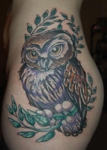 owl tattoo brown tattoos on hip